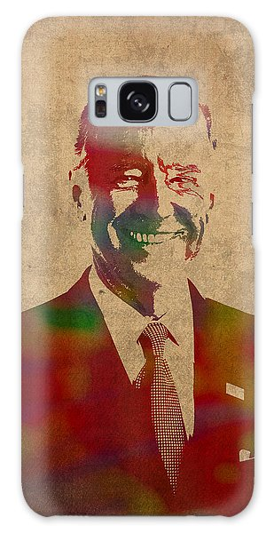 Joe Biden Watercolor Portrait Galaxy Case