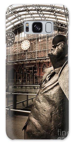 John Betjeman And Dent Clockat St Pancras Railway Station Galaxy Case