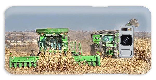 John Deere Combine Picking Corn Followed By Tractor And Grain Cart Galaxy Case