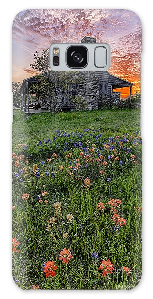 John P Coles Cabin And Spring Wildflowers At Independence - Old Baylor Park Brenham Texas Galaxy Case