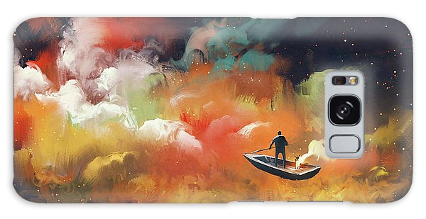 Galaxy Case featuring the painting Journey To Outer Space by Tithi Luadthong