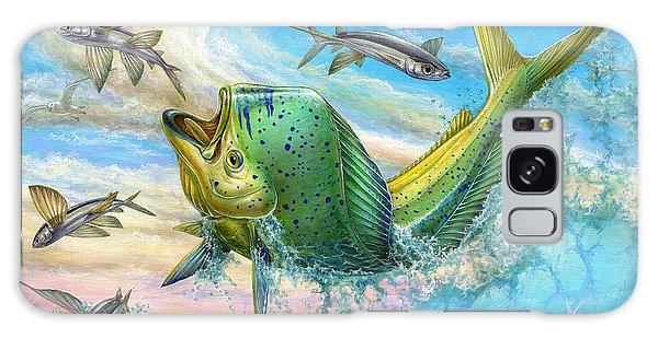Dolphin Galaxy Case - Jumping Mahi Mahi And Flyingfish by Terry Fox