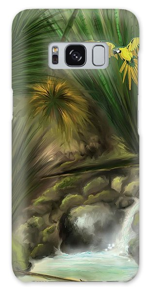 Galaxy Case featuring the digital art Jungle Parrot by Darren Cannell