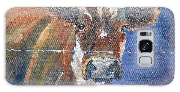 Galaxy Case featuring the painting Just A Big Happy Cow On A Little Square Canvas by Jan Dappen