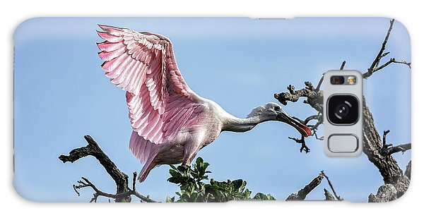 Juvenile Roseate Spoonbill Readying Its Wings Galaxy Case