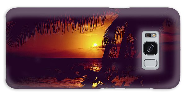 Galaxy Case featuring the photograph Kamaole Tropical Nights Sunset Gold Purple Palm by Sharon Mau