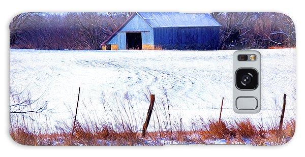 Kansas Winter Field Barn 1 Galaxy Case