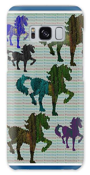 Kids Fun Gallery Horse Prancing Art Made Of Jungle Green Wild Colors Galaxy Case by Navin Joshi