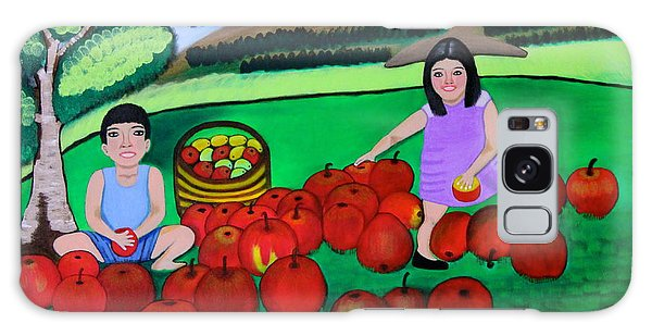 Kids Playing And Picking Apples Galaxy Case by Lorna Maza