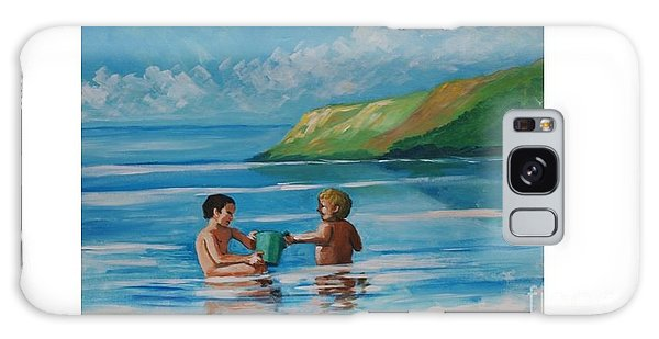 Kids Playing On The Beach Galaxy Case