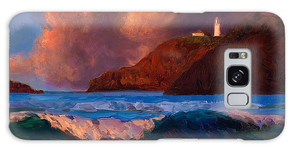 Kilauea Lighthouse - Hawaiian Cliffs Sunset Seascape And Clouds Galaxy Case