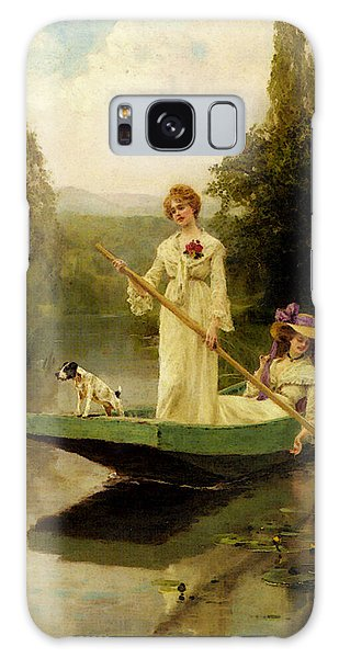 King Henry John Yeend Two Ladies Punting On The River Galaxy Case