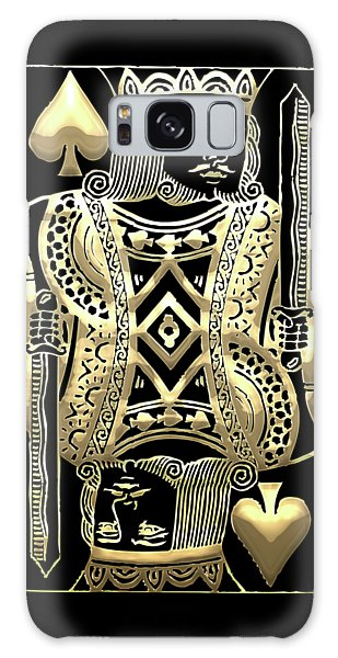 King Of Spades In Gold On Black   Galaxy Case