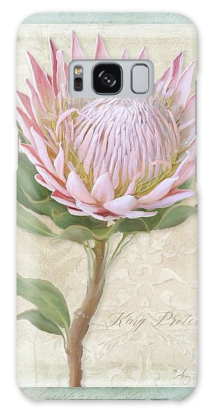 King Protea Blossom - Vintage Style Botanical Floral 1 Galaxy Case by Audrey Jeanne Roberts