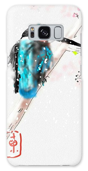Kingfisher In Late Spring Snow Galaxy Case