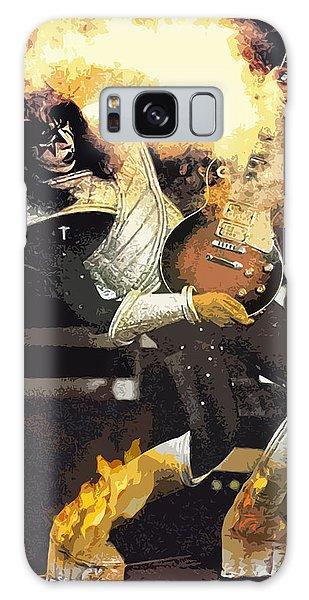 Galaxy Case featuring the digital art Kiss Ace Frehley Guitar On Fire by Joy McKenzie