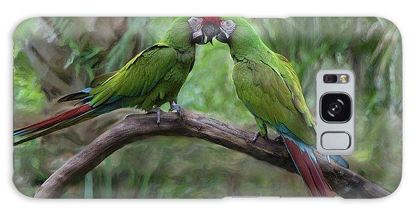 Kissing Macaws Galaxy Case