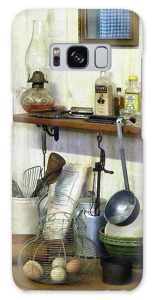 Kitchen With Wire Basket Of Eggs Galaxy Case by Susan Savad