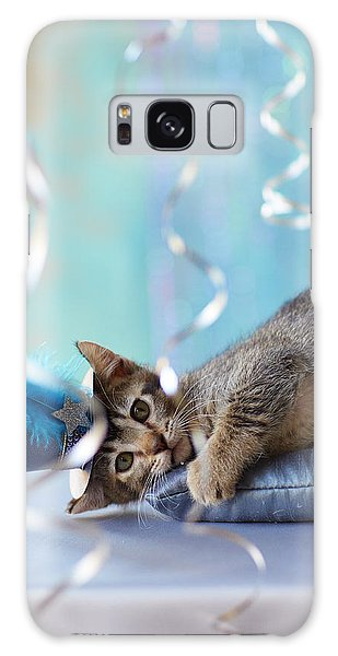Feather Stars Galaxy Case - Kitten Wearing A Party Hat Lying by Gillham Studios
