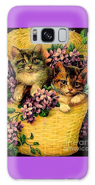 Kittens With Violets Victorian Print Galaxy Case