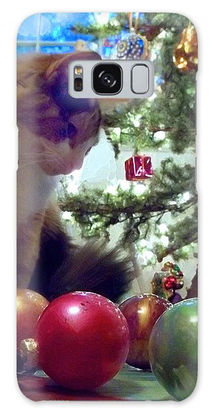 Kitty Helps Decorate The Tree Christmas Card Galaxy Case