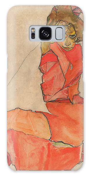 Kneeling Female In Orange-red Dress Galaxy Case