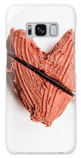Indoors Galaxy Case - Knife Cutting Heart Shape Chocolate On Plate by Jorgo Photography - Wall Art Gallery