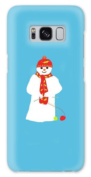 Knitting Snowman Galaxy Case by Barbara Moignard