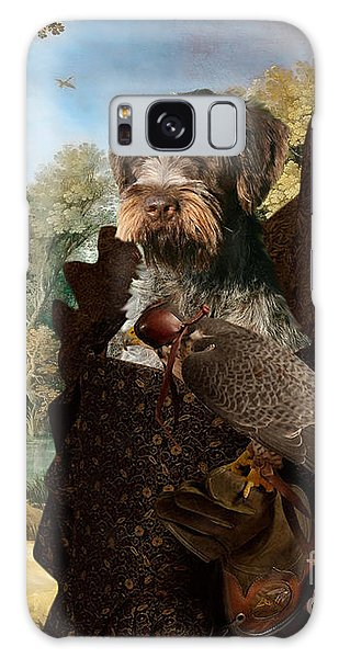 Korthals Pointing Griffon Art Canvas Print - The Hunters And Lady Falconer Galaxy Case