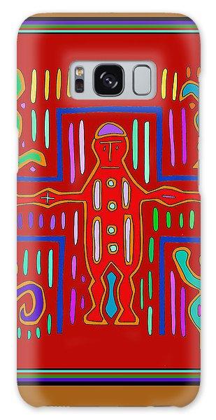 Galaxy Case featuring the digital art Kuna Indian Mola Crucifix by Vagabond Folk Art - Virginia Vivier