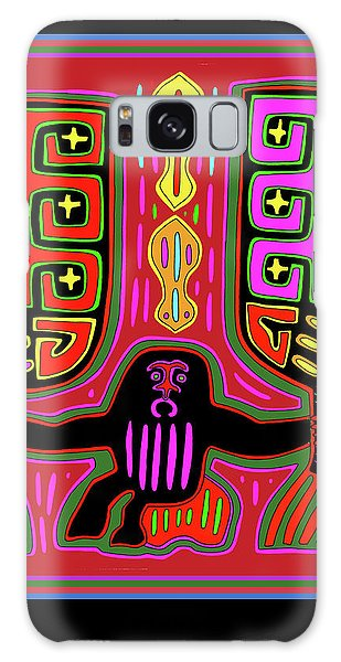 Galaxy Case featuring the digital art Kuna Indian Mola Man With Fans by Vagabond Folk Art - Virginia Vivier