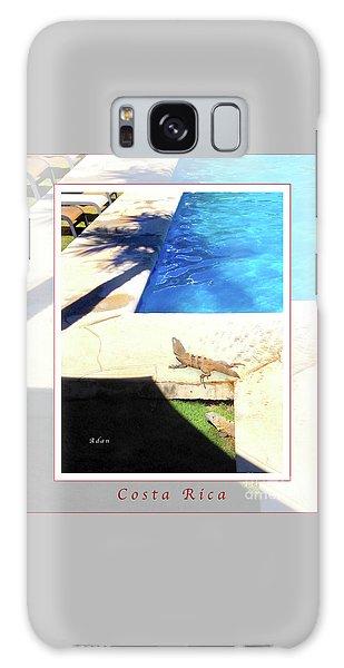 la Casita Playa Hermosa Puntarenas Costa Rica - Iguanas Poolside Greeting Card Poster Galaxy Case