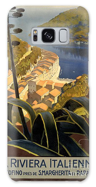 La Riviera Italienne Vintage Travel Poster Restored Galaxy Case