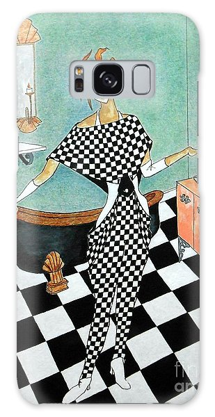 La Toilette -- Woman In Whimsical Art Deco Bathroom Galaxy Case