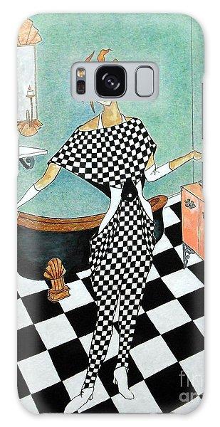 La Toilette -- Woman In Whimsical Art Deco Bathroom Galaxy Case