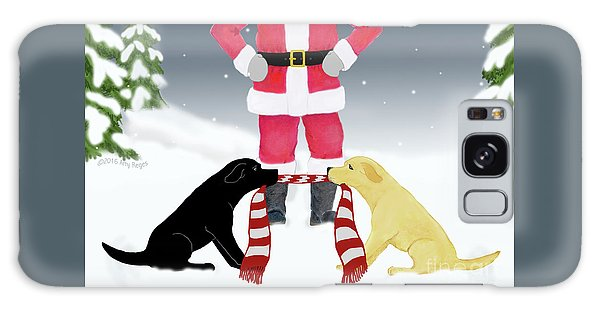Labs Tug Santa Scarf Galaxy Case