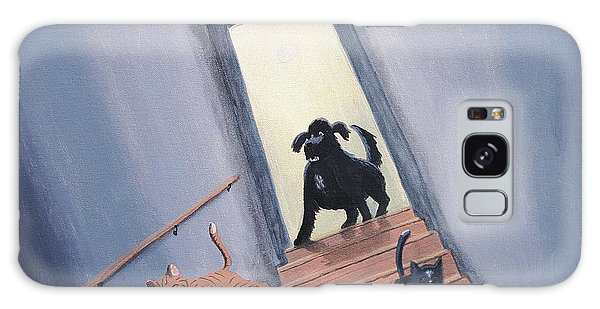 Lady Chases The Cats Down The Stairs Galaxy Case