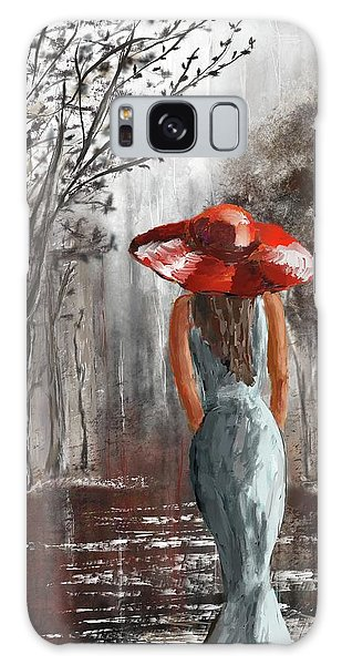 Lady In A Red Hat Galaxy Case