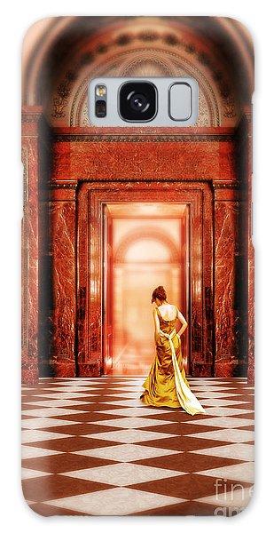 Lady In Golden Gown Walking Through Doorway Galaxy Case