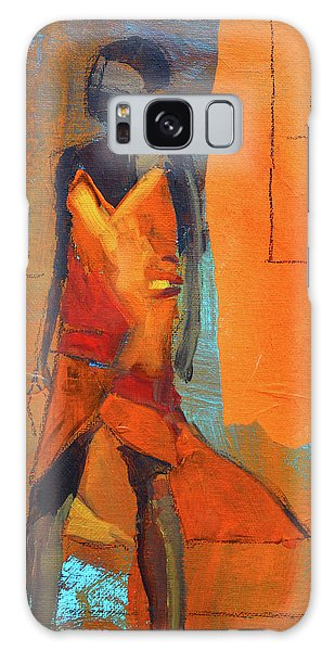 Galaxy Case featuring the painting Lady In Orange by Nancy Merkle