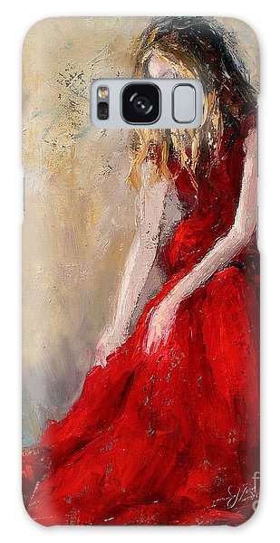 Lady In Red 2 Galaxy Case by Jennifer Beaudet