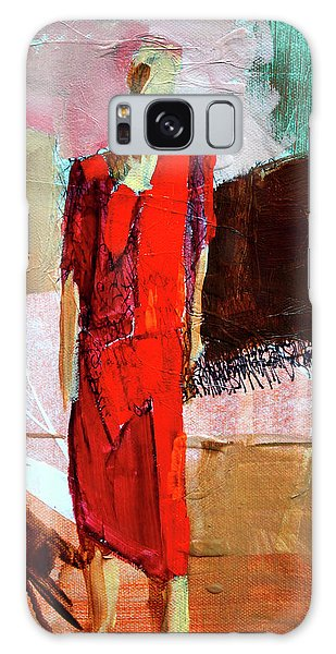 Galaxy Case featuring the painting Lady In Red by Nancy Merkle