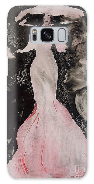 Lady In The Pink Hat Galaxy Case