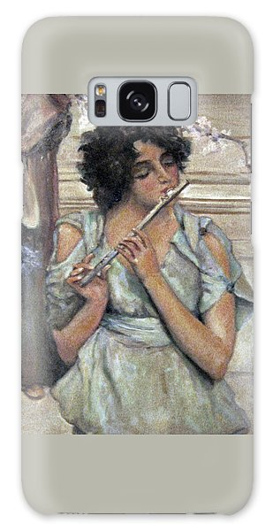 Lady Playing Flute Galaxy Case