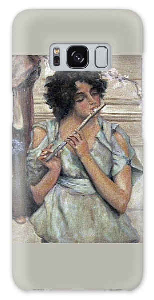 Lady Playing Flute Galaxy Case by Donna Tucker
