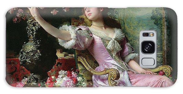 Tapestry Galaxy Case - Lady With Flowers by Ladislaw von Czachorski