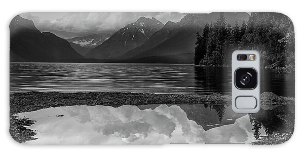 White Mountain National Forest Galaxy Case - Lake Mcdonald Sunset In Black And White by Mark Kiver
