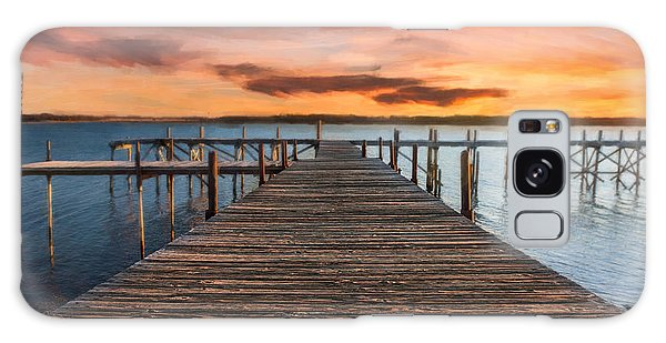Lake Murray Lodge Pier At Sunrise Landscape Galaxy Case by Tamyra Ayles