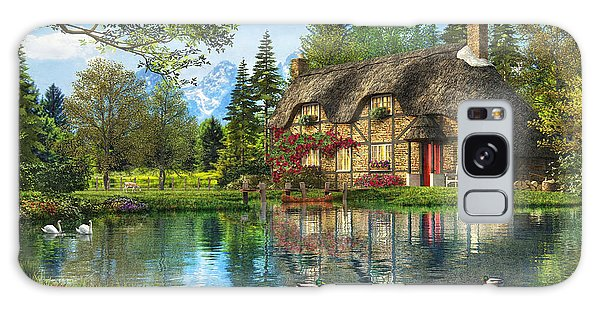 English Countryside Galaxy Case - Lake View Cottage by Dominic Davison