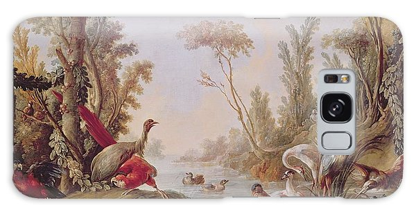 Stork Galaxy S8 Case - Lake With Geese Storks Parrots And Herons by Francois Boucher